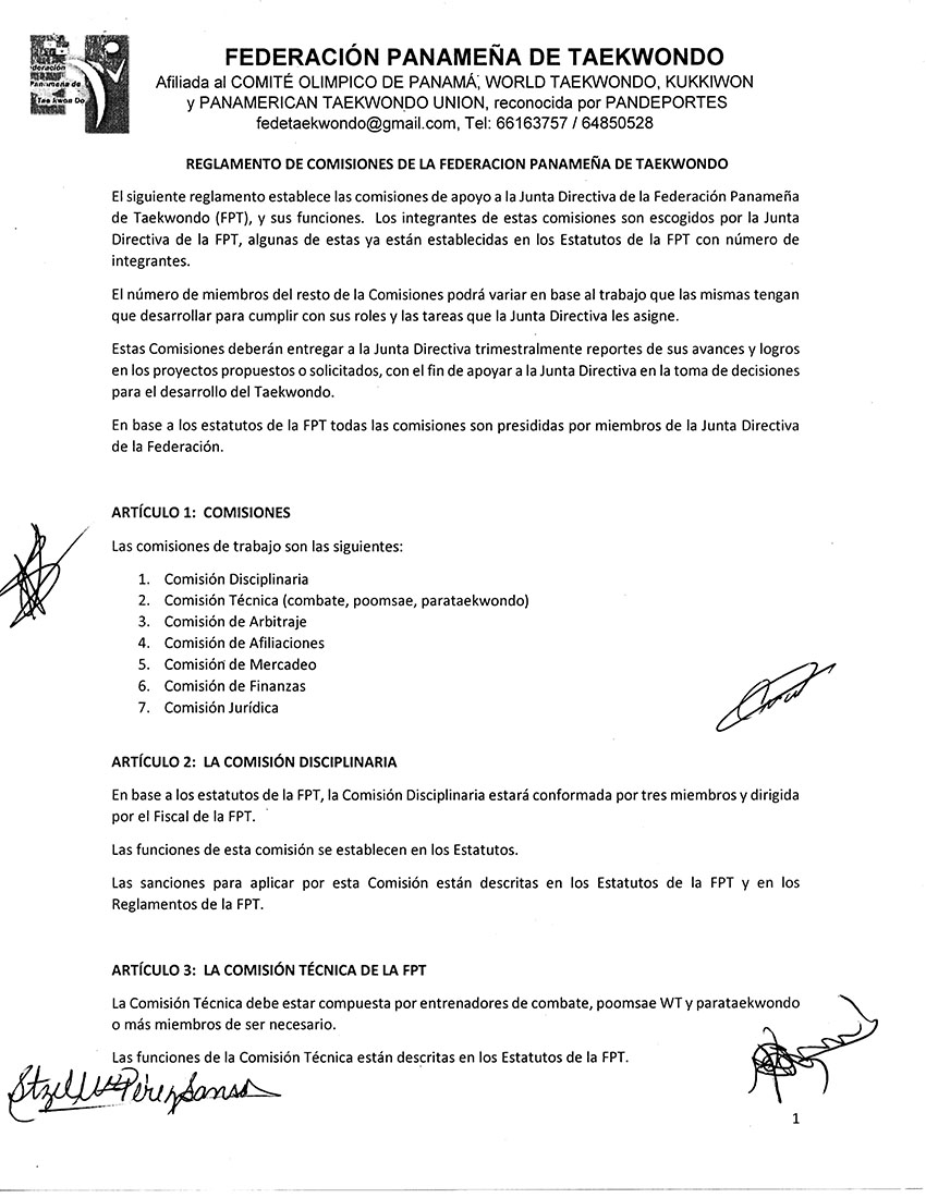 REGLAMENTO DE COMISIONES DE LA FEDERACION PANAMEÑA DE TAEKWONDO_Page_1