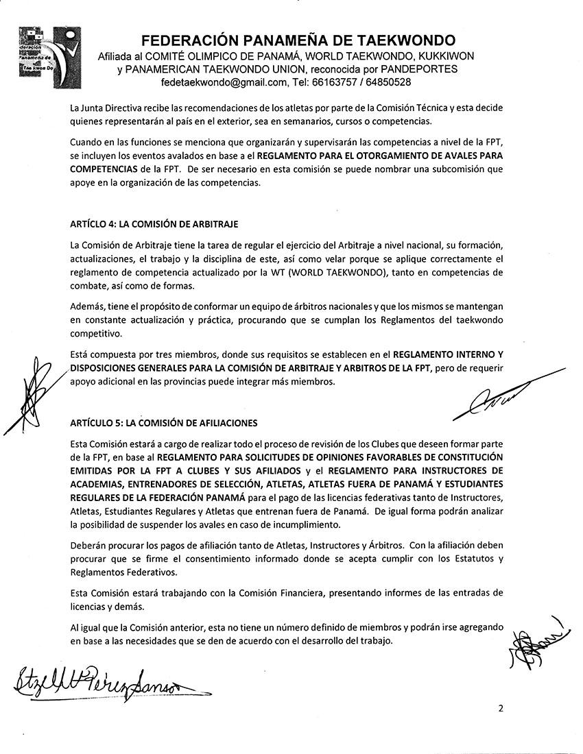 REGLAMENTO DE COMISIONES DE LA FEDERACION PANAMEÑA DE TAEKWONDO_Page_2