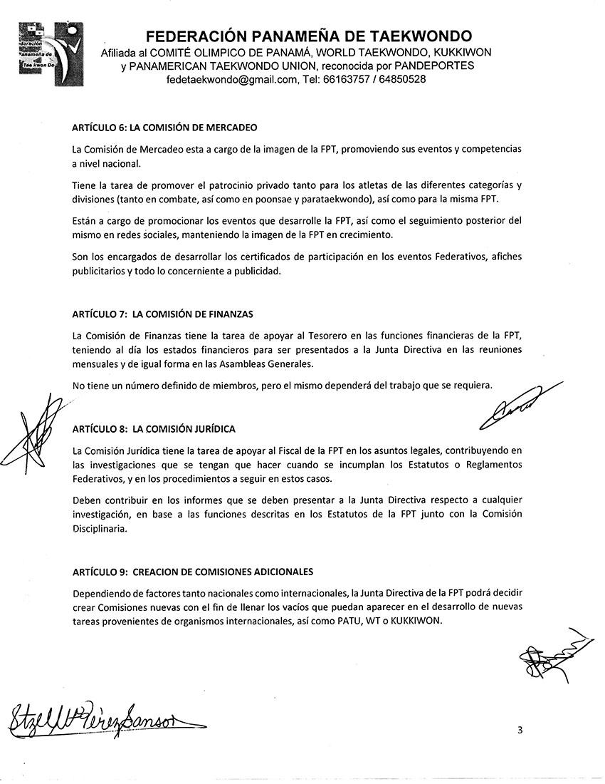 REGLAMENTO DE COMISIONES DE LA FEDERACION PANAMEÑA DE TAEKWONDO_Page_3