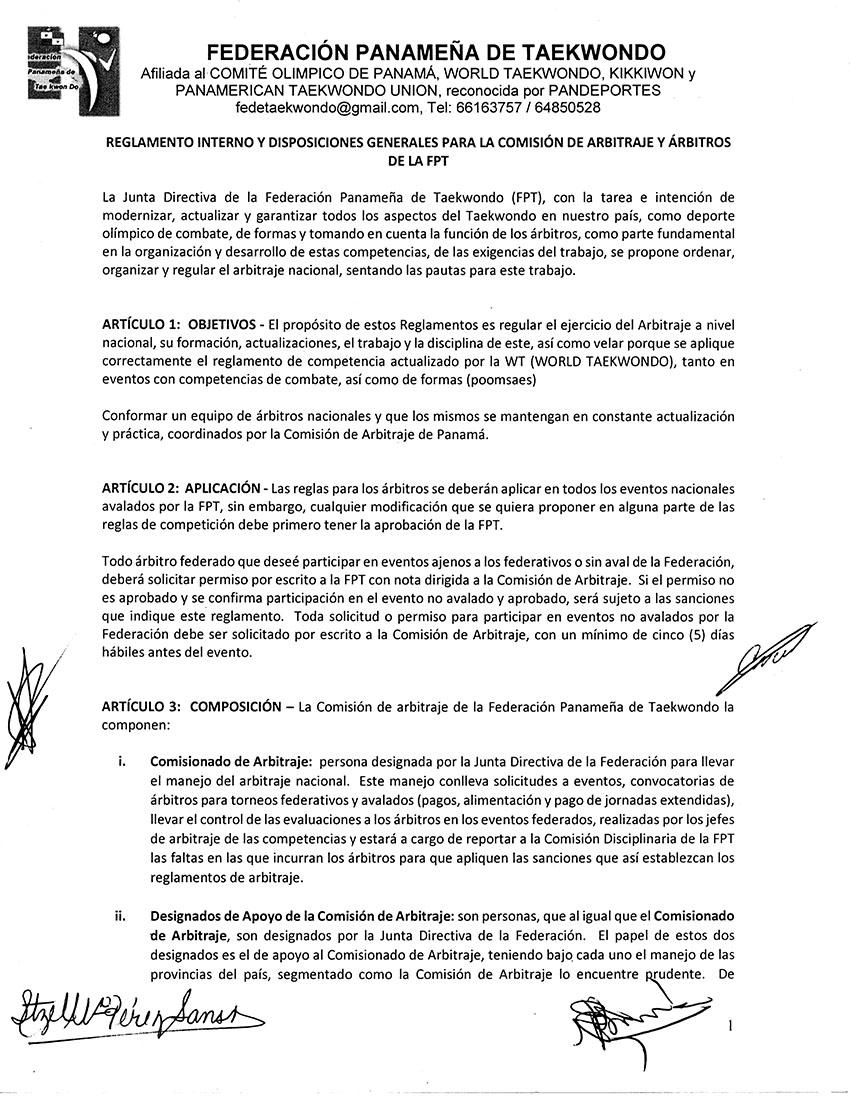 REGLAMENTO INTERNO Y DISPOSICIONES GENERALES PARA LA COMISION DE ARBITRAJE Y ARBITROS DE LA FPT_Page_1