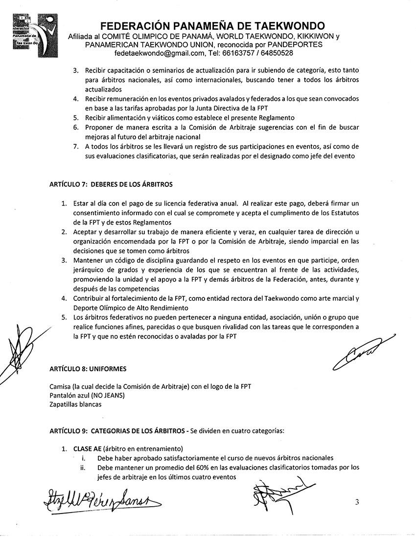 REGLAMENTO INTERNO Y DISPOSICIONES GENERALES PARA LA COMISION DE ARBITRAJE Y ARBITROS DE LA FPT_Page_3