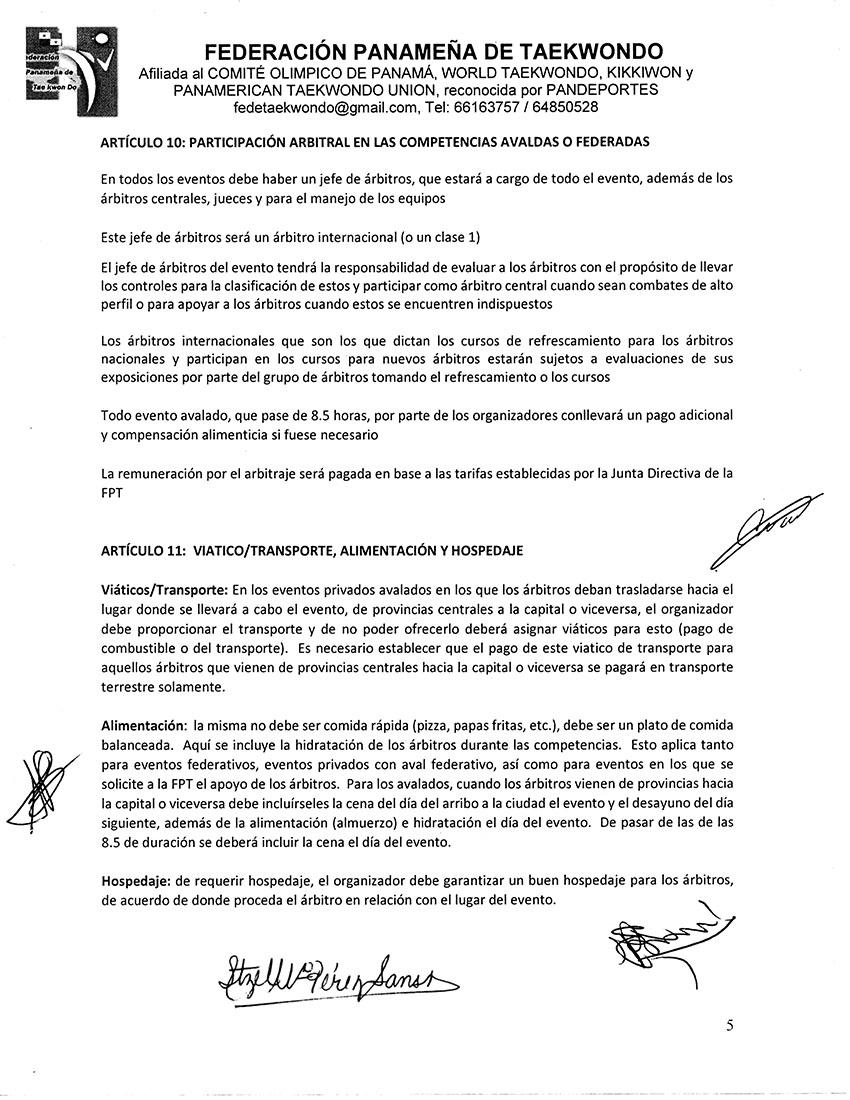 REGLAMENTO INTERNO Y DISPOSICIONES GENERALES PARA LA COMISION DE ARBITRAJE Y ARBITROS DE LA FPT_Page_5