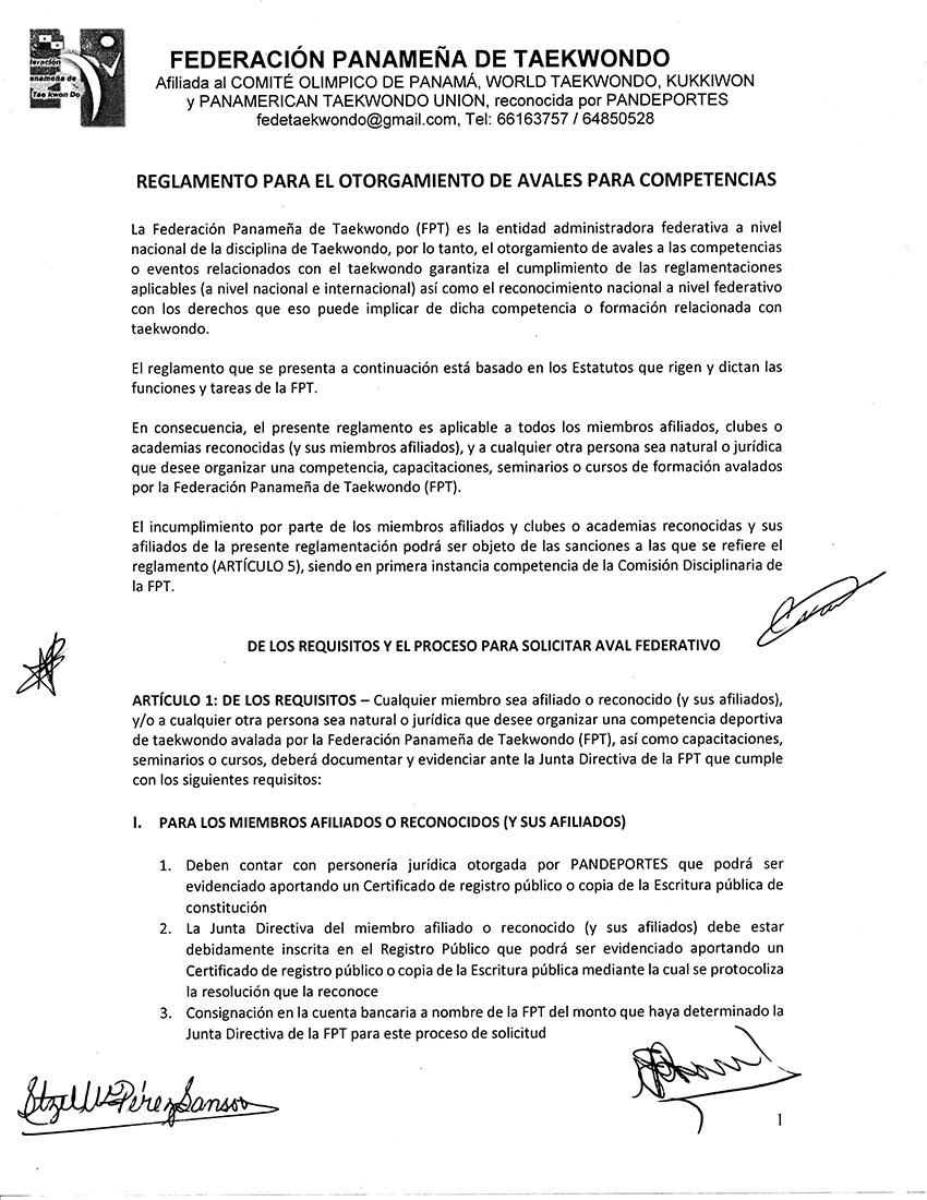 REGLAMENTO PARA EL OTORGAMIENTO DE AVALES PARA COMPETENCIAS_Page_1