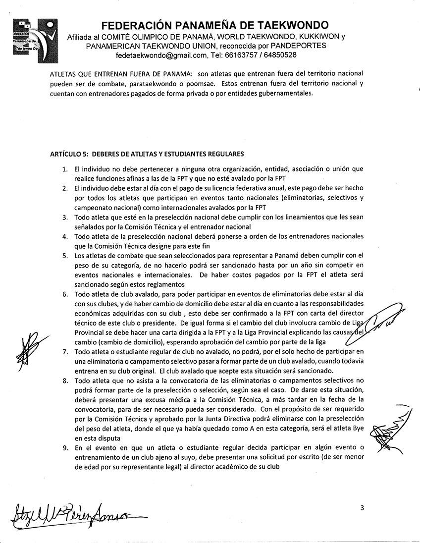 REGLAMENTO PARA INSTRUCTORES DE ACADEMIAS ENTRENADORES DE SELECCION ATLETAS ATLETAS FUERA DE PANAMA Y ESTUDIANTES REGULARES DE ACADEMIAS DE LA FPT_Page_3