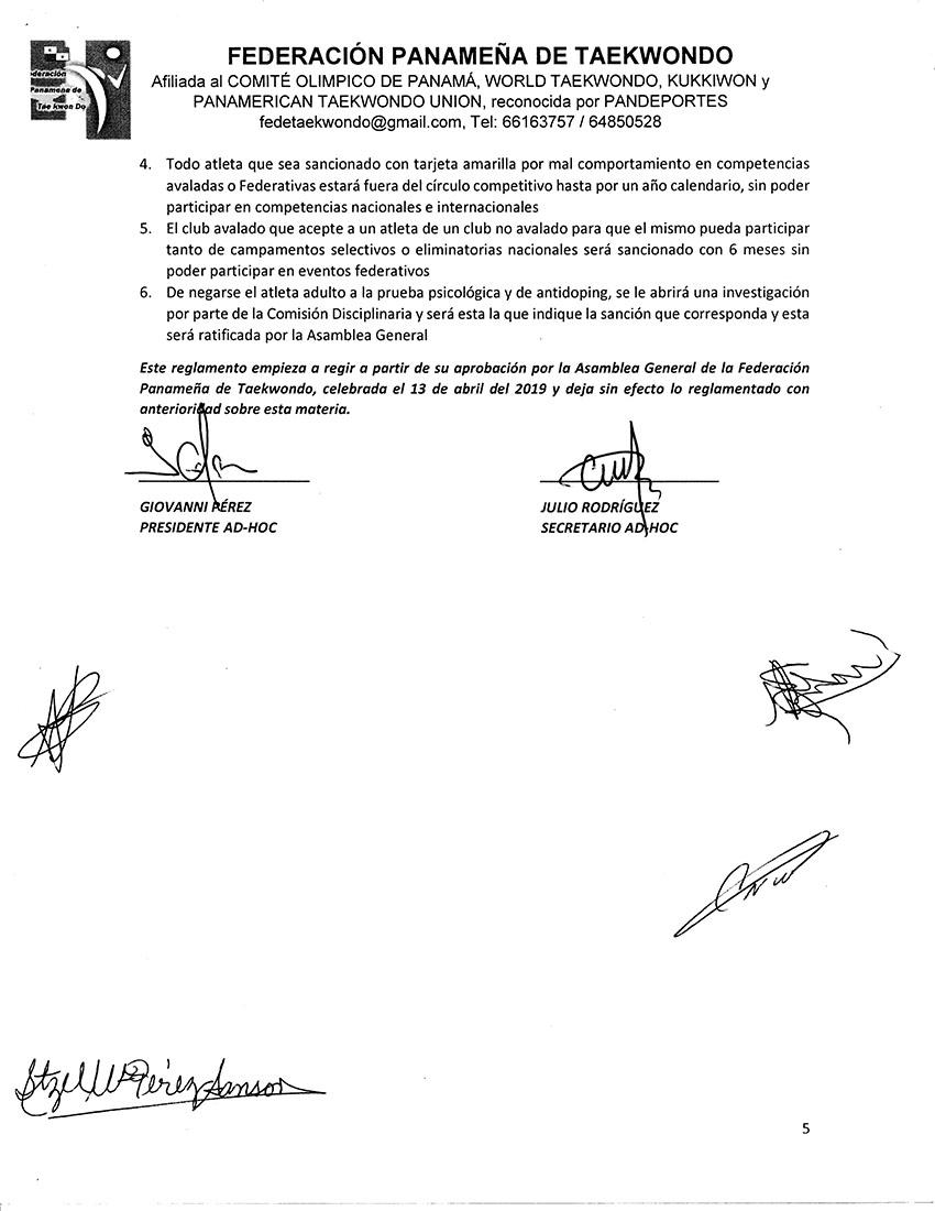 REGLAMENTO PARA INSTRUCTORES DE ACADEMIAS ENTRENADORES DE SELECCION ATLETAS ATLETAS FUERA DE PANAMA Y ESTUDIANTES REGULARES DE ACADEMIAS DE LA FPT_Page_5
