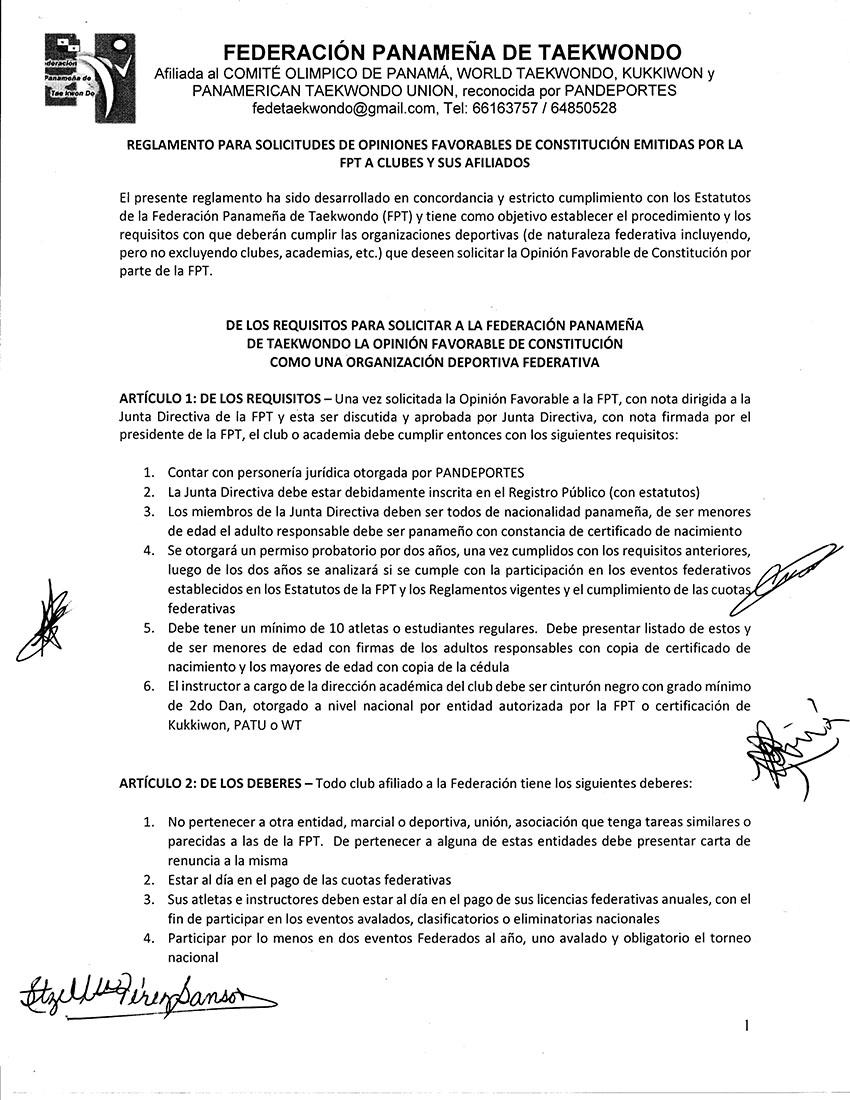 REGLAMENTO PARA SOLICITUDES DE OPINIONES FAVORABLES DE CONSTITUCION EMITIDAS POR LA FPT A CLUBES Y SUS AFILIADOS_Page_1